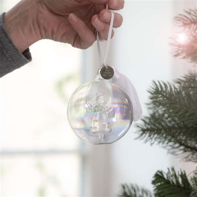 Personalised Angel In Memory Glass Bauble