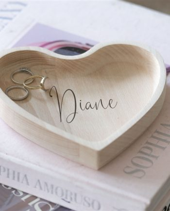 Personalised Script Heart Wooden Trinket Dish