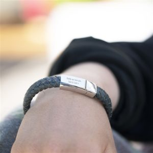 Engraved Leather Wristband