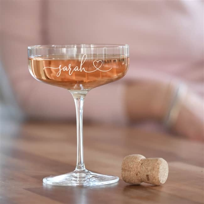Personalised Heart Crystal Champagne Coupe Glass