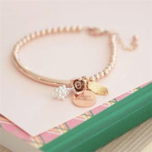 Personalised Flower Bouquet 17cm Rose Gold Bracelet