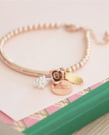 Personalised Flower Bouquet 17cm Rose Gold Bracelet
