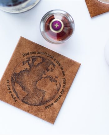 Dad You're My World Leather Coaster
