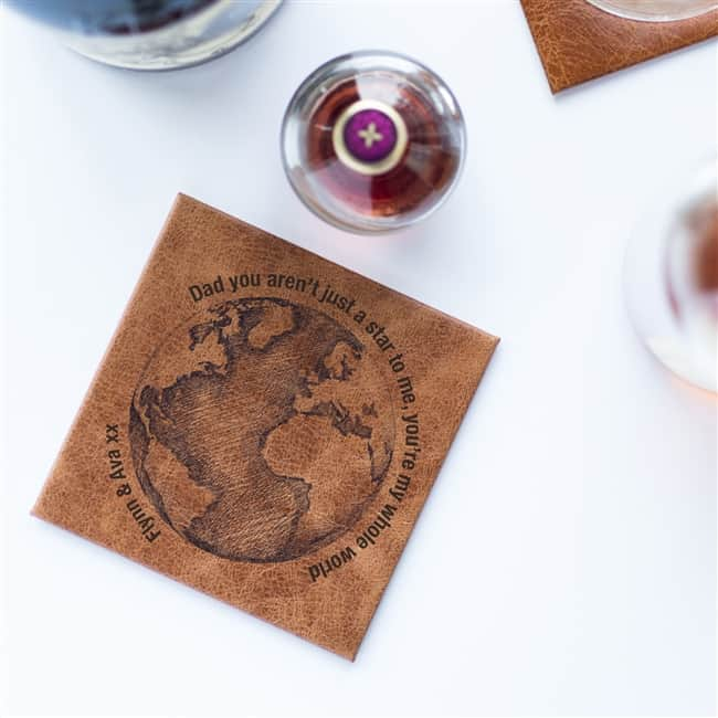 Personalised Dad 'You're My World' Leather Coaster