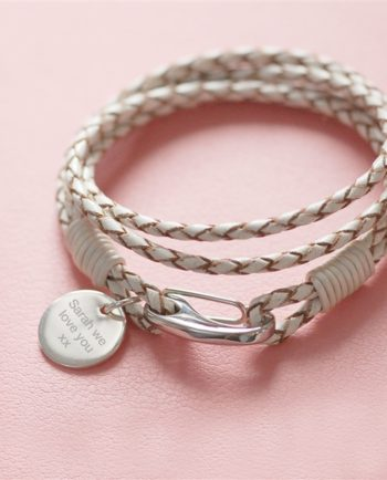 Personalised White Leather Wristband