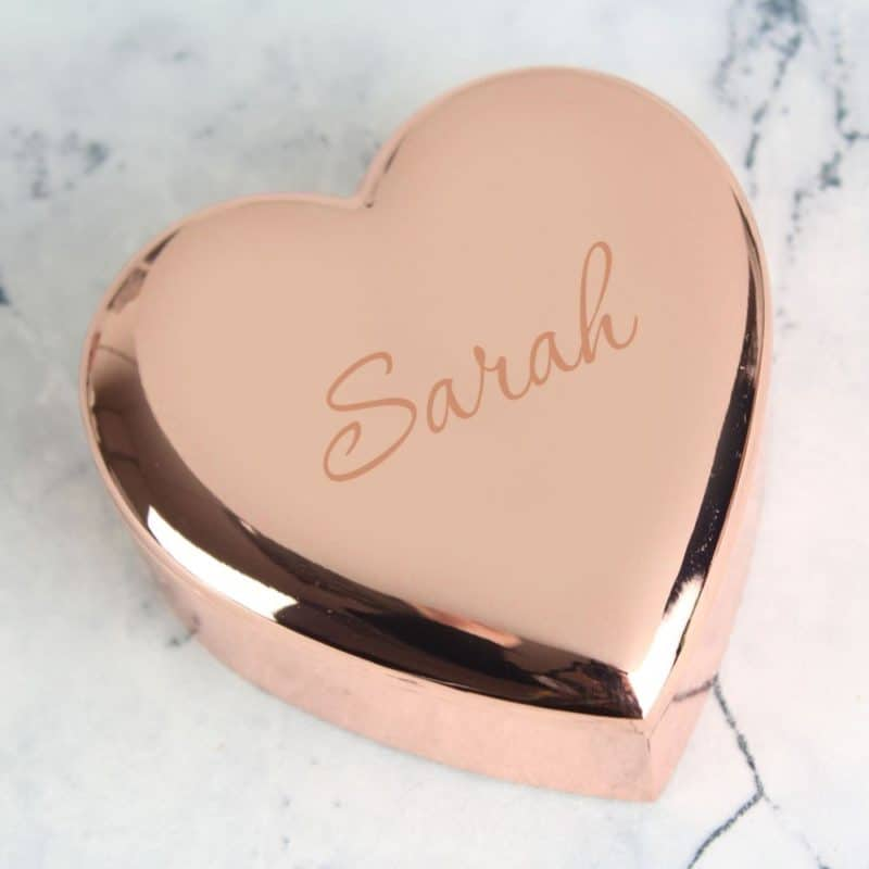 Personalised Rose Gold 'Name Only' Heart Trinket Box