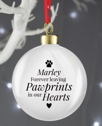 Personalised Pet Pawprint Memorial Christmas Bauble