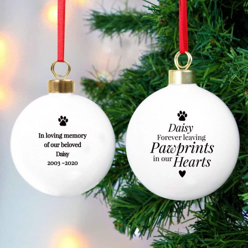 Personalised 'Pawprints' Memorial Christmas Bauble