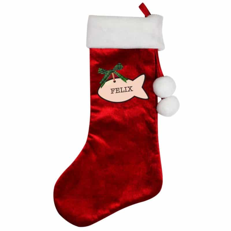 Personalised Cat Treat Luxury Red Christmas Stocking