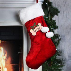 Personalised Dog Treat Luxury Red Christmas Stocking