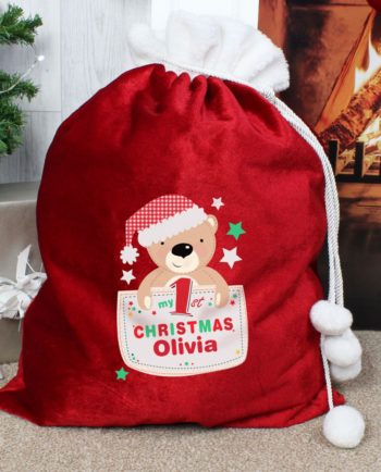 Personalised 'My 1st Christmas' Cute Teddy Luxury Red Sack