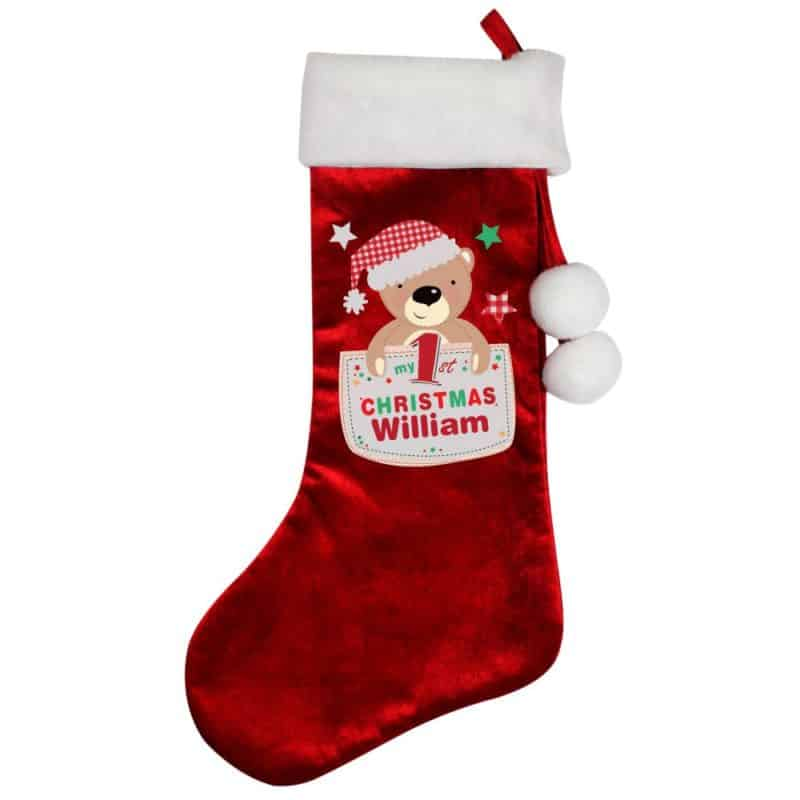 Personalised 'My 1st Christmas' Teddy Luxury Red Stocking