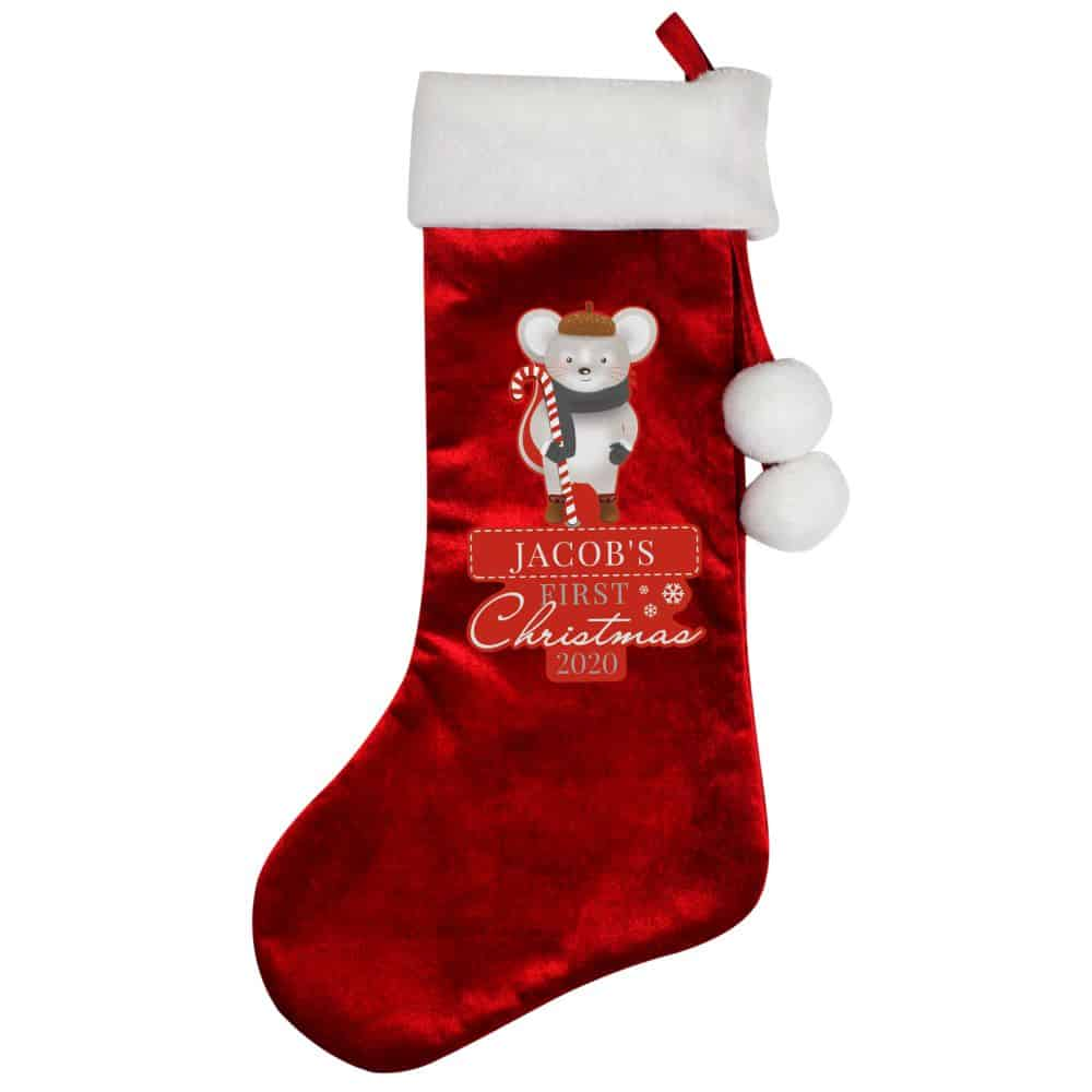 Personalised 1st Christmas Cute Mouse Red Stocking Gift