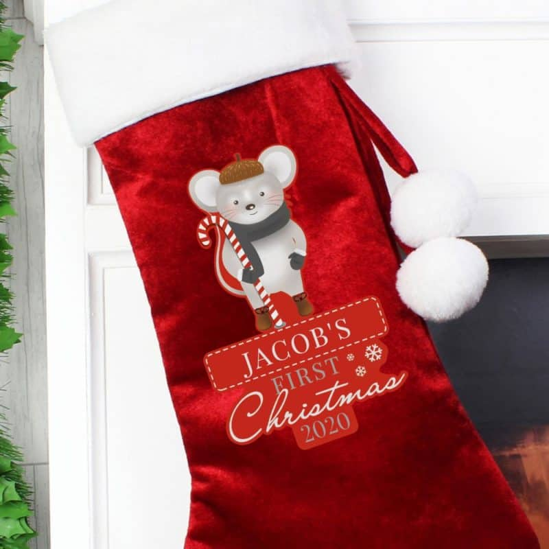Personalised '1st Christmas' Cute Mouse Red Stocking