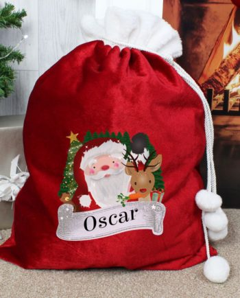 Personalised Santa & Rudolph Red Christmas Sack Gift