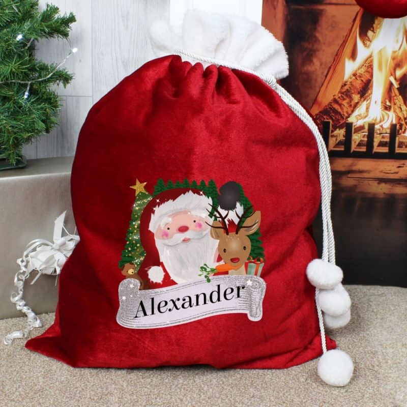 Personalised Santa & Rudolph Red Christmas Sack
