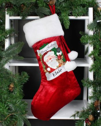 Personalised Santa & Rudolph Red Christmas Stocking Gift