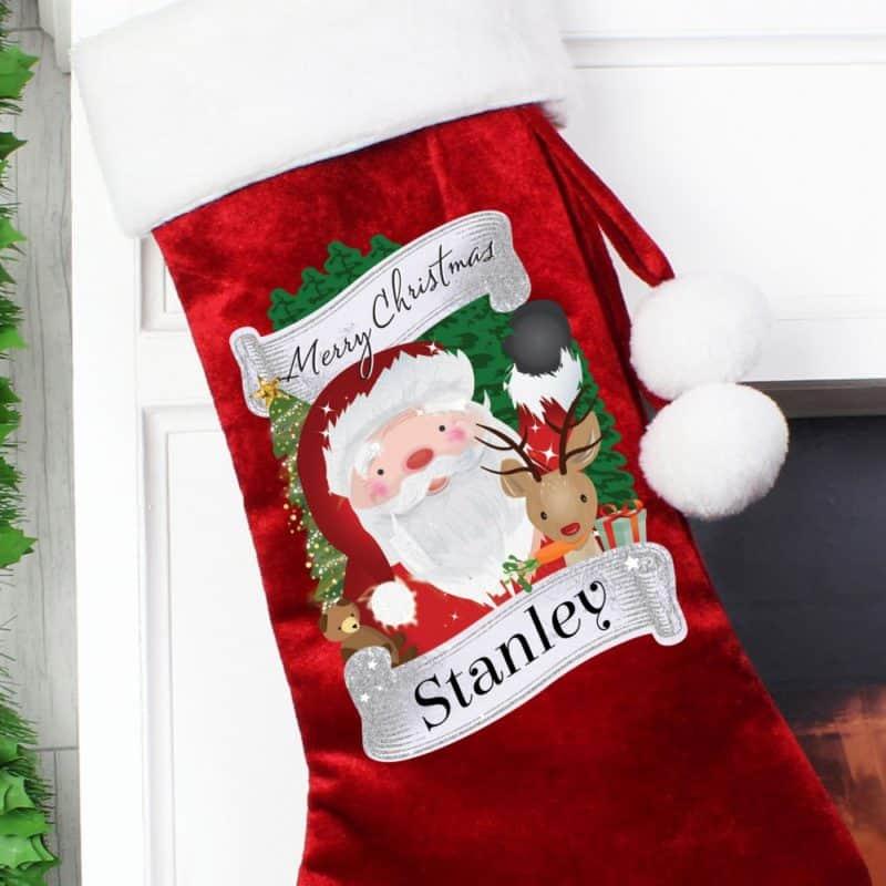 Personalised Santa & Rudolph Red Christmas Stocking