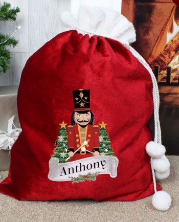 Personalised 'Nutcracker Drummer Solider' Red Christmas Sack Gift