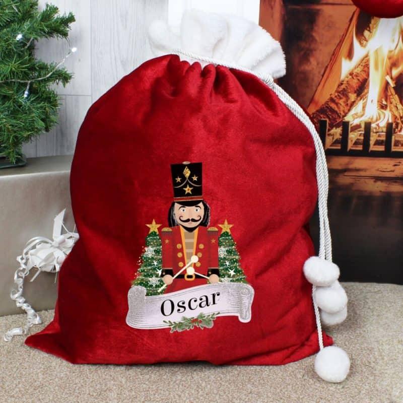 Personalised 'Nutcracker Drummer Solider' Red Christmas Sack