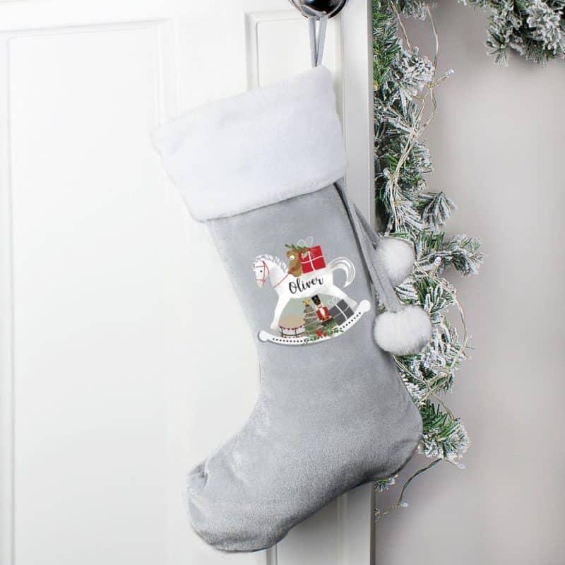 Personalised Rocking Horse Silver Grey Christmas Stocking