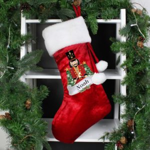 Personalised 'Nutcracker Drummer Solider' Red Christmas Stocking