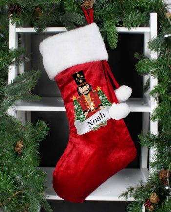 Personalised Drummer Nutcracker Red Christmas Stocking