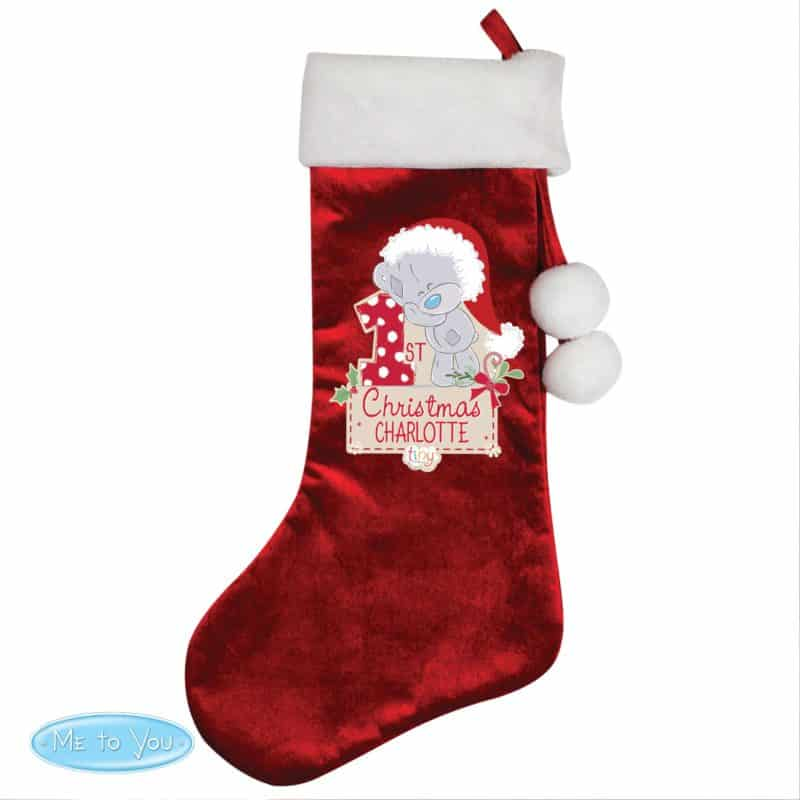 Personalised Tiny Tatty Teddy 'My 1st Christmas' Luxury Red Stocking