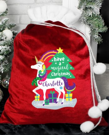 Personalised 'Christmas Unicorn' Luxury Pom Pom Red Sack