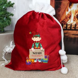 Personalised 'Christmas Elf' Luxury Pom Pom Red Sack