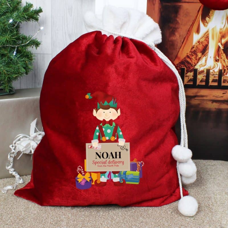 Personalised 'Christmas Elf' Luxury Pom Pom Red Sack