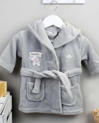 Personalised Elephant Grey Hooded Baby Dressing Gown