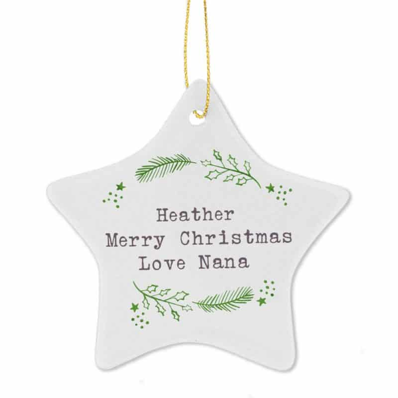 Personalised 'Christmas Holly' Ceramic Star Decoration