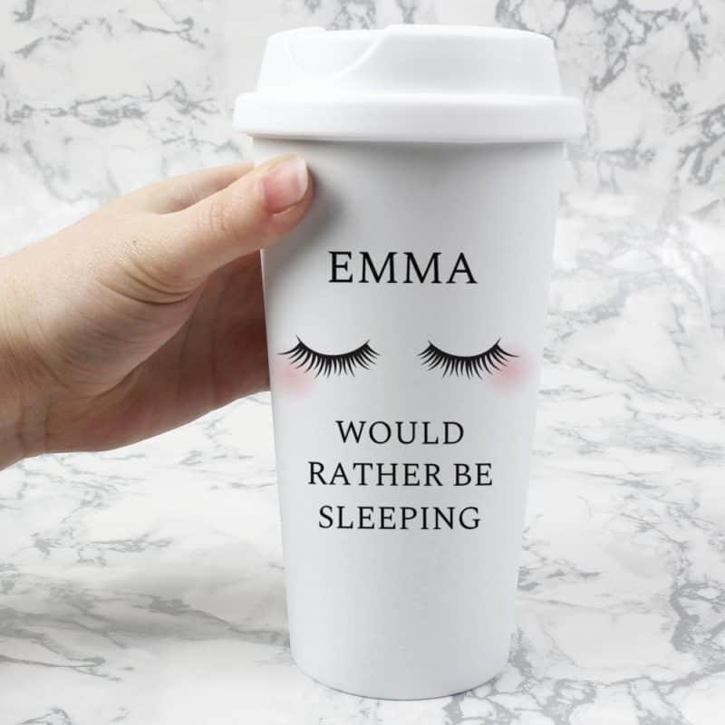 Personalised Eyelashes Double Walled Travel Mug