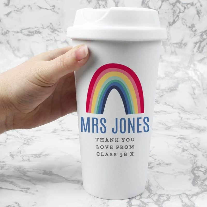 Personalised Rainbow Double Walled Travel Mug