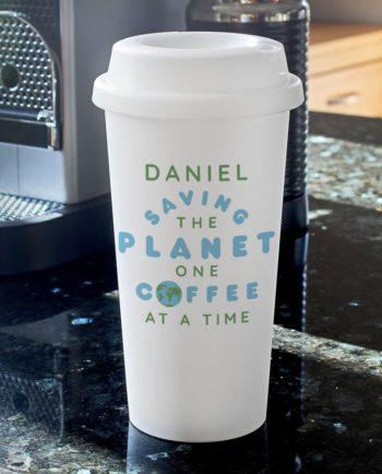 Personalised 'Saving the Planet' Double Walled Travel Mug