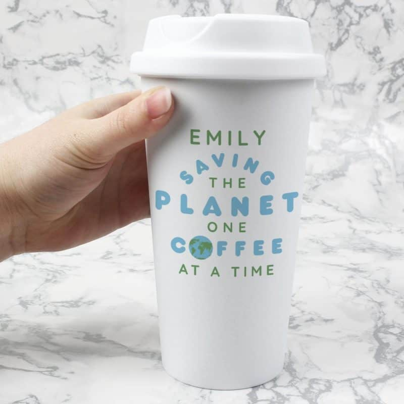 Personalised 'Saving The Planet' Double Walled Travel Mug