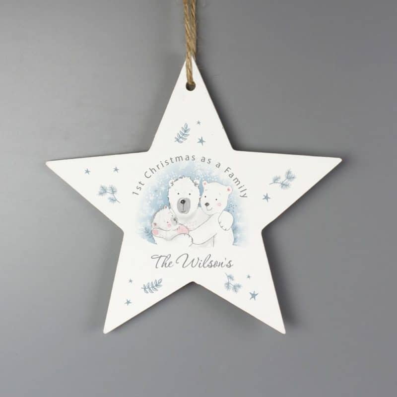 Personalised '1st Christmas as a Family' Wooden Star Decoration