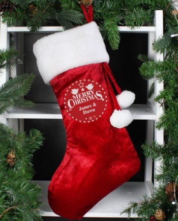 Personalised Merry Christmas Luxury Red Stocking