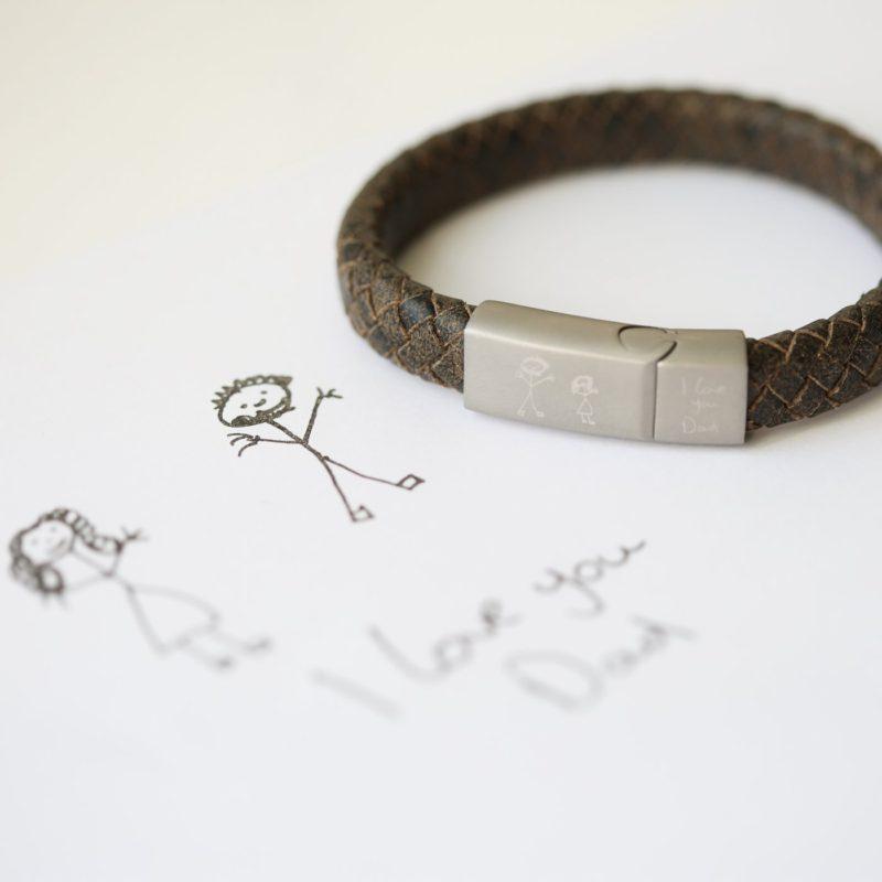 Personalised Own Handwriting Antique Style Rustic Bracelet