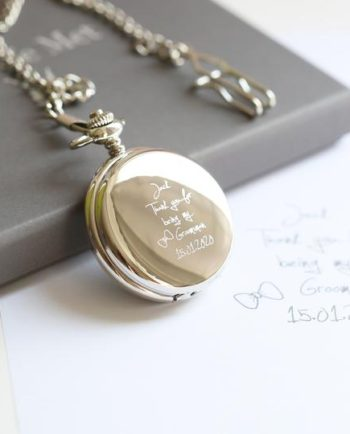 Personalised Own Handwriting Engraved Roman Skeleton Pocket Watch