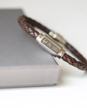 Personalised Engraved Own Handwriting Twisted Leather Bracelet