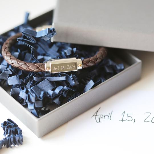 Personalised Own Handwriting Twisted Leather Bracelet