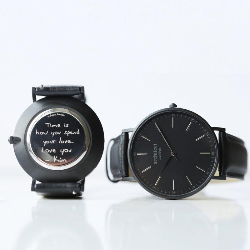 Personalised Own Handwriting Mens Minimalist Black Watch