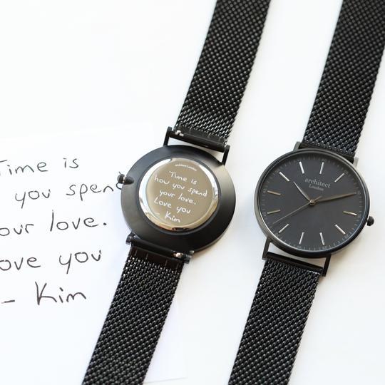 Personalised Own Handwriting Men's Minimalist Black Mesh Watch