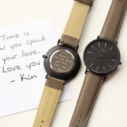 Personalised Own Handwriting Men's Minimalist Grey Watch