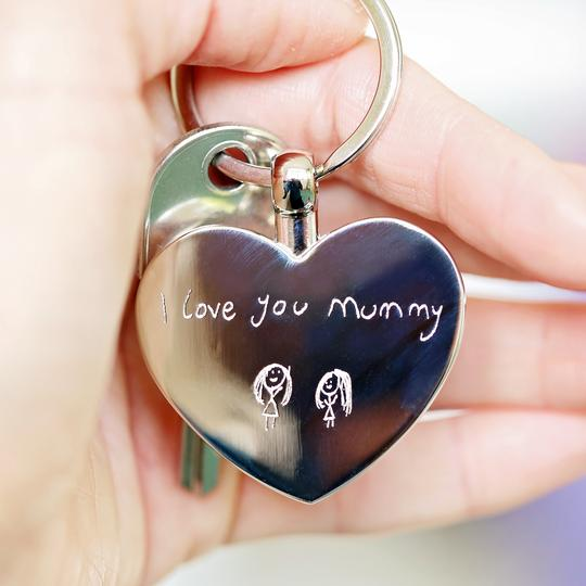 Personalised Hearts Forever Keychain With Own Handwriting Engraving