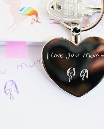 Personalised Hearts Forever Keychain With Handwriting Engraving