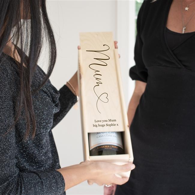 Personalised Mum Wooden Bottle Gift Box