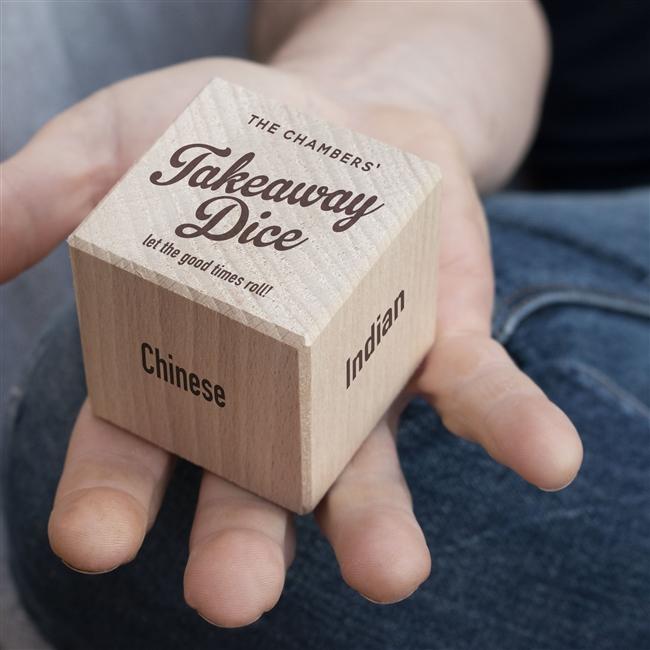 Personalised 'Takeaway' Wooden Dice